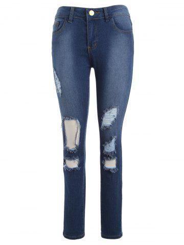 New High Waisted Hole Destroyed Ripped Jeans