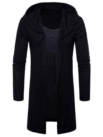 Long Sleeve Open Front Hooded T-shirt