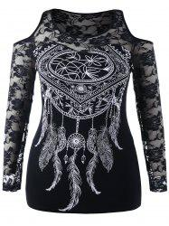 Plus Size Dreamcatcher Print Lace Embroidered T-shirt -