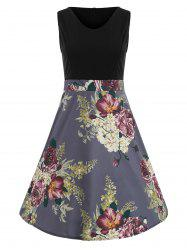Color Block Floral Print Vintage Dress -