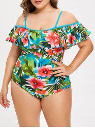 Plus Size Floral Printed Ruffle Swimsuit -