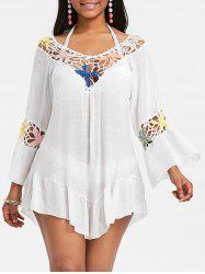 Crochet Panel Flounce Tunique Cover Up -
