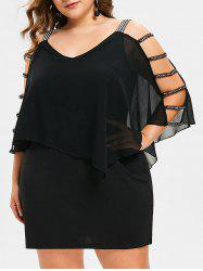 Plus Size Ladder Cut Overlay Dress -