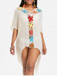 Asymmetric Sheer Crochet Panel Cover Up -
