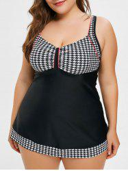 Plus Size Houndstooth Skirted Swimsuit -