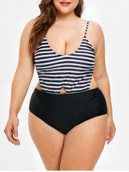 Plus Size Striped Backless Swimsuit -