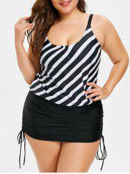 Plus Size Striped Tie Side Tankini Set -