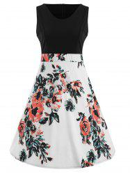 Sleeveless Floral Print Color Block A Line Dress -