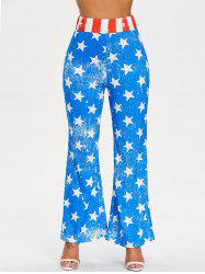 Patriotic Star Print Wide Leg Pants -