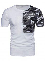 Crew Neck Camouflage Splicing T-shirt -