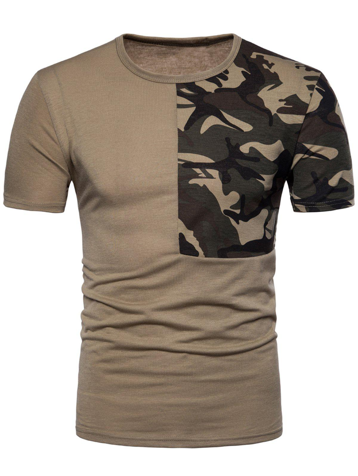 Shop Crew Neck Camouflage Splicing T-shirt