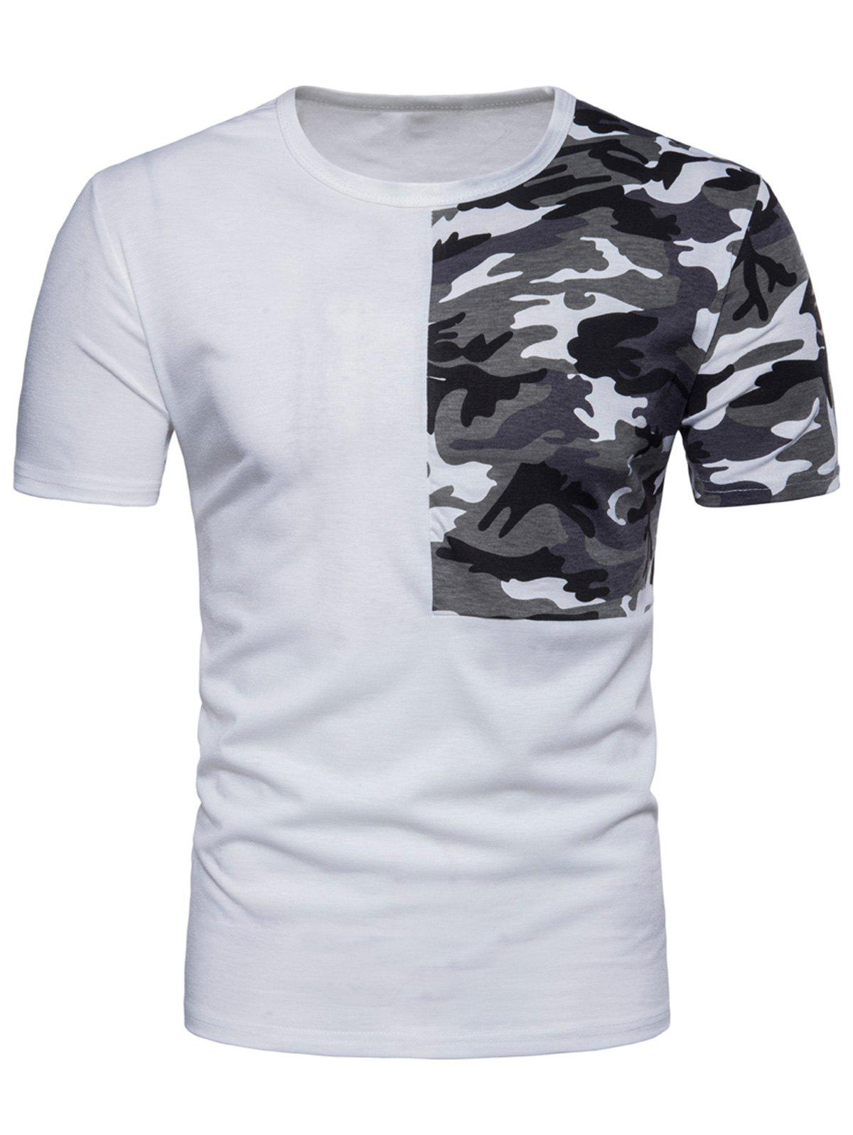 Affordable Crew Neck Camouflage Splicing T-shirt