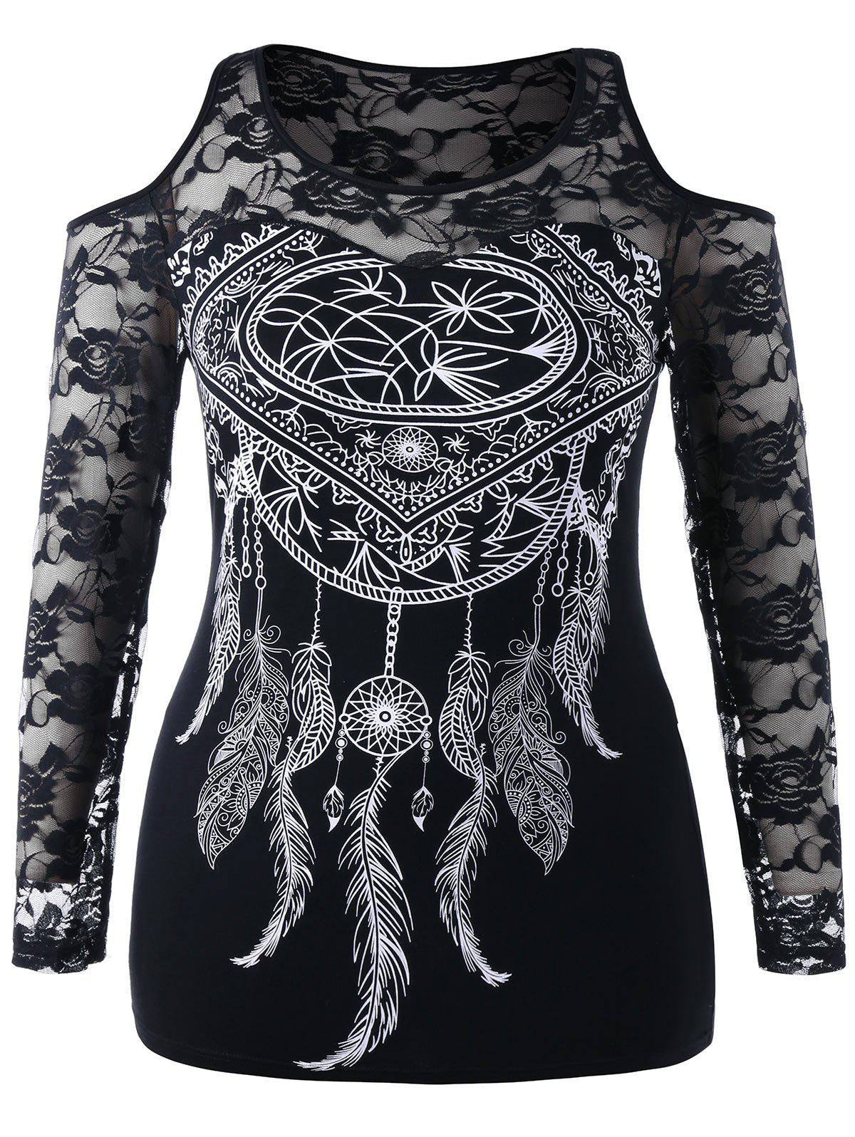 Discount Plus Size Dreamcatcher Print Lace Embroidered T-shirt