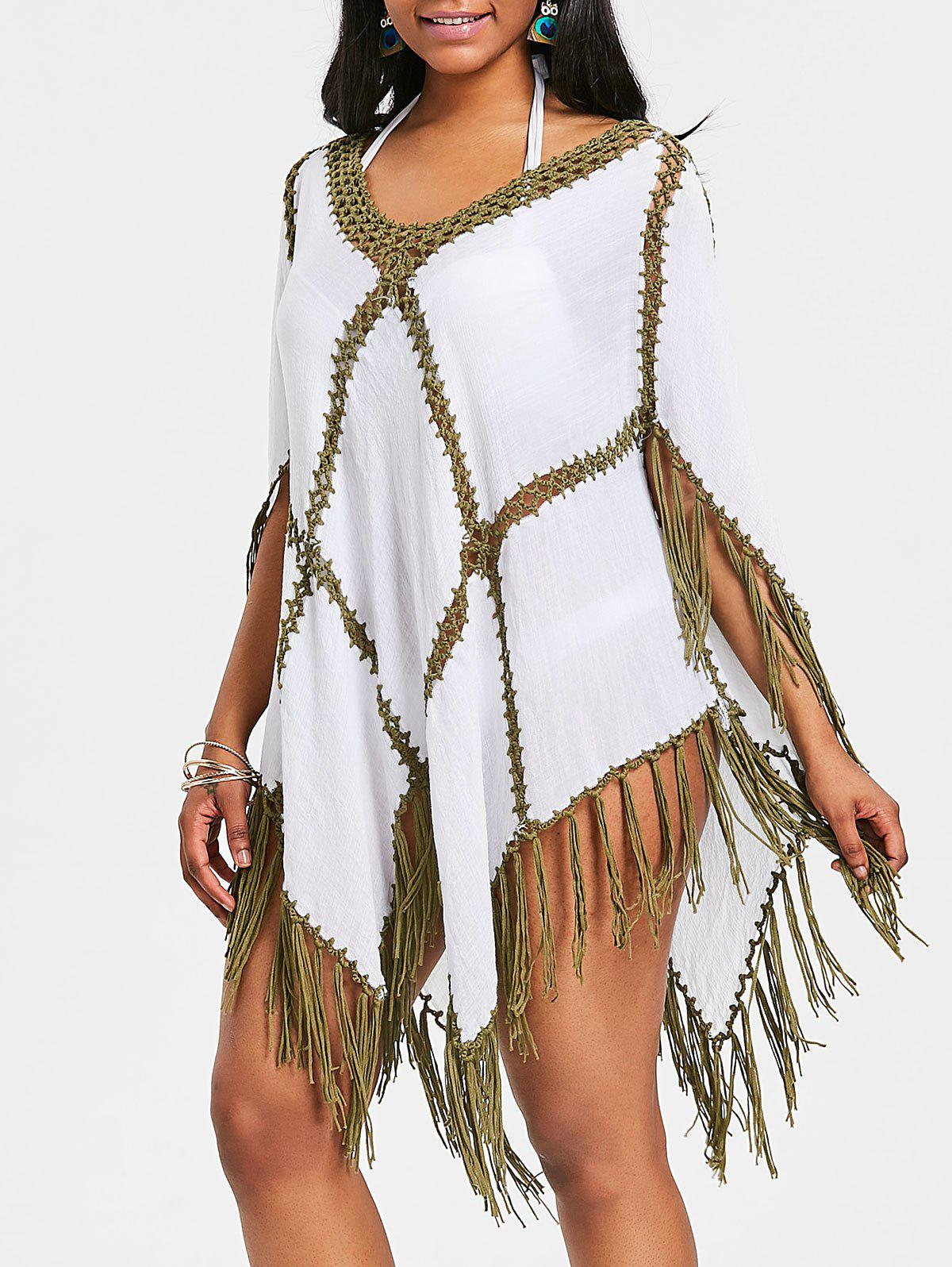Discount Crochet Insert Fringed Tunic Cover Up