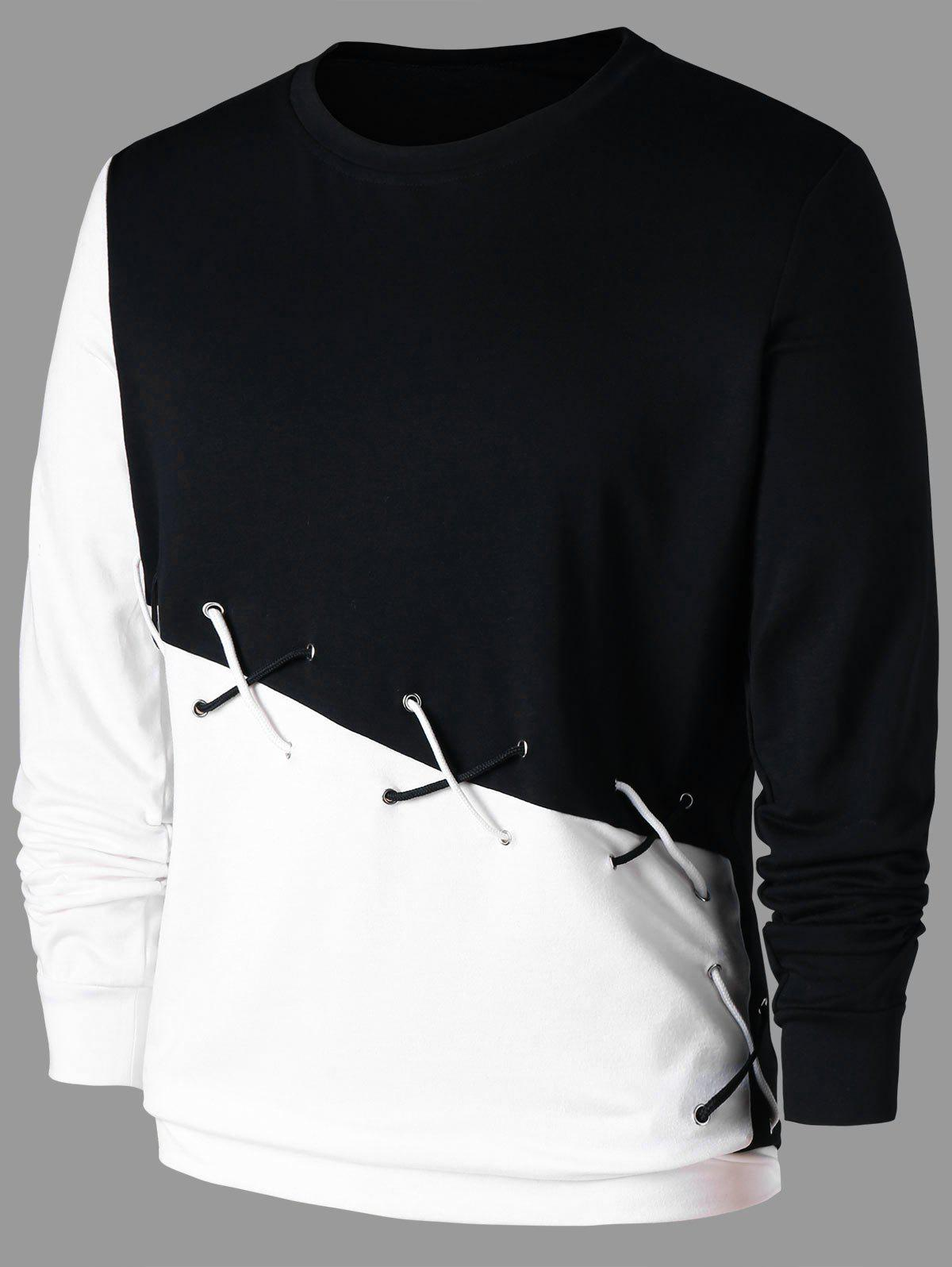 Affordable Color Block Sweatshirt with Lace Up