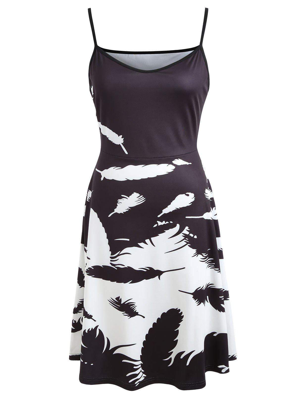New Color Block Feather Print Slip Dress