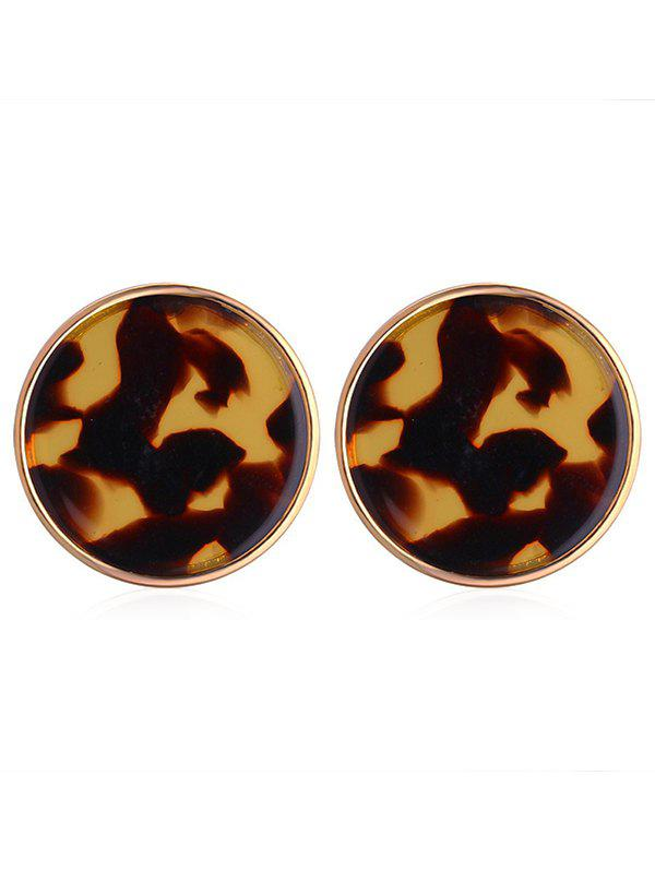 Leopard Printed Round Tiny Stud Earrings