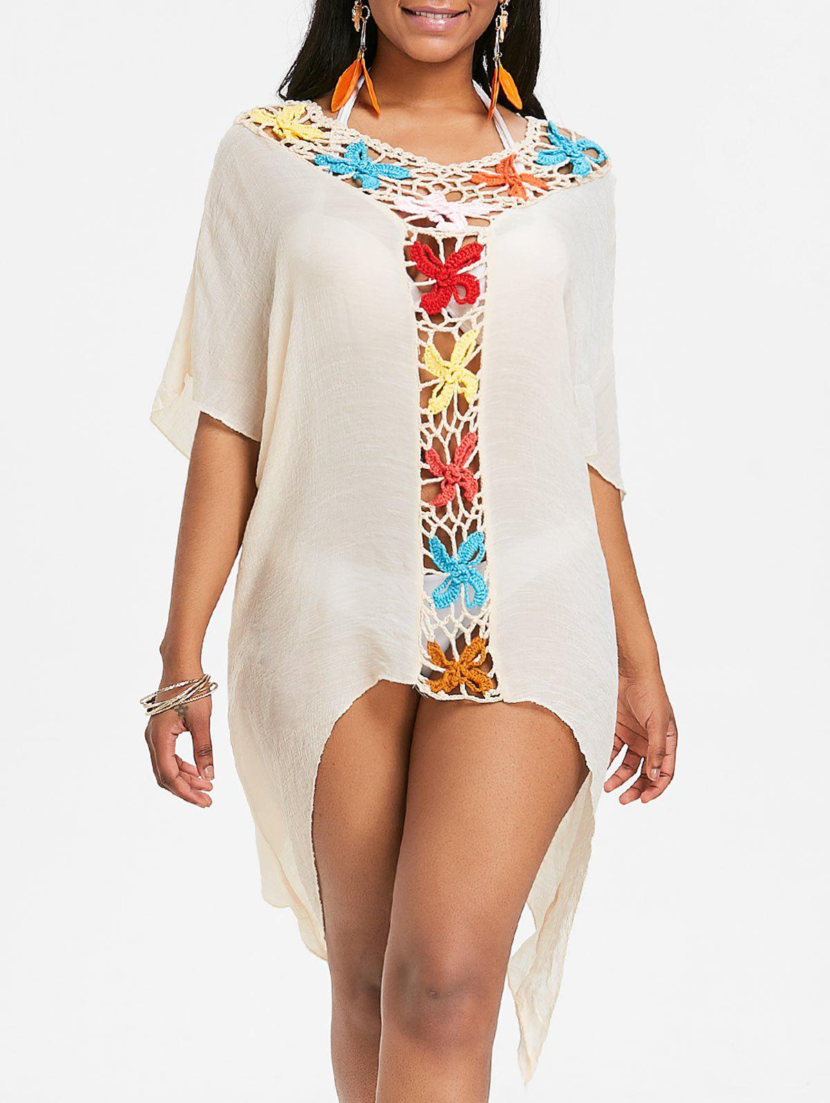 Chic Asymmetric Sheer Crochet Panel Cover Up