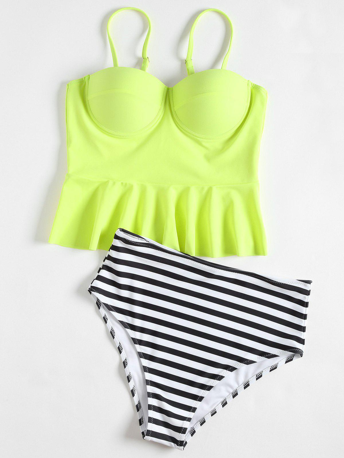 Latest High Waisted Striped Flounce Peplum Tankini