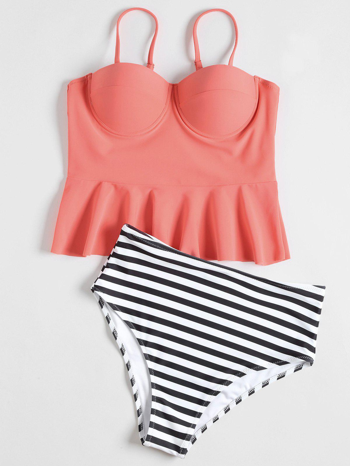 Outfit High Waisted Striped Flounce Peplum Tankini