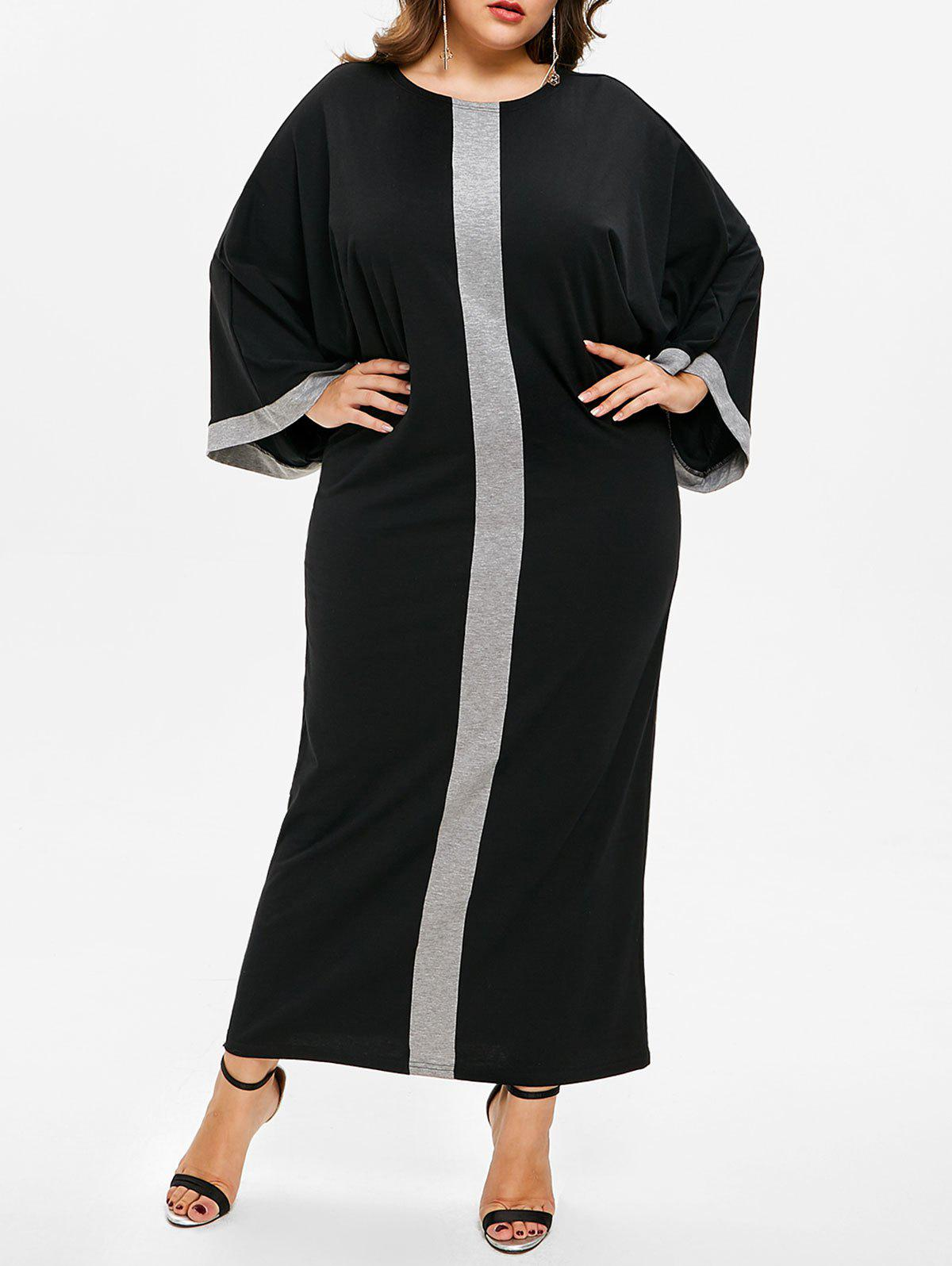 Hot Plus Size Batwing Sleeve Two Tone Dress
