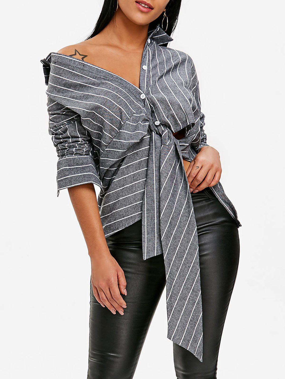New Front Tie Stripe Asymmetrical Peplum Blouse