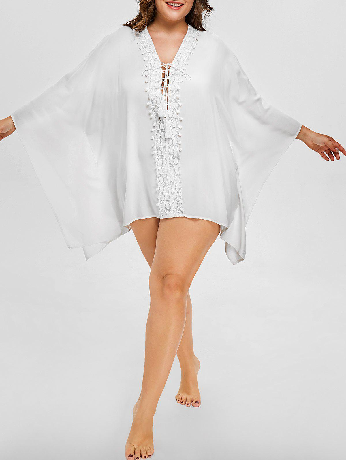 Outfit Plus Size Crochet Lace Up Cover Up