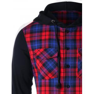 Flap Pockets Plaid Button Up Hoodie -
