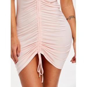 Spaghetti Strap Ruched Bodycon Dress -
