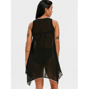 Fish Scale Trim Sleeveless Handkerchief Cover Up -