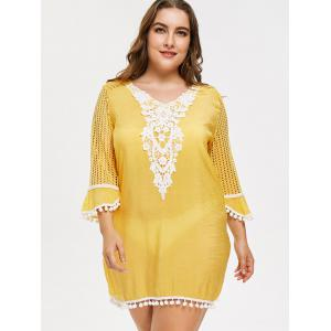 Plus Size Crochet Pom Cover Up -