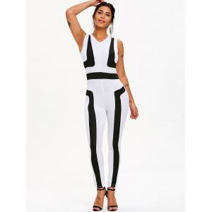 Color Block Sleeveless Jumpsuit -