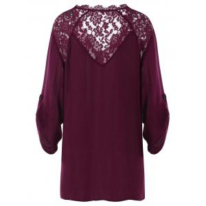 Lace Insert Plus Size Casual Tunic -