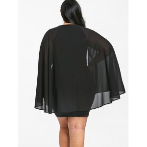 Plus Size Sequined Trim Bodycon Cape Dress -