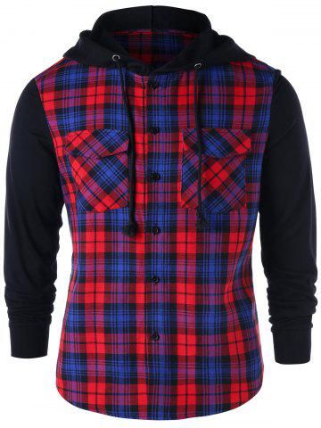 Store Flap Pockets Plaid Button Up Hoodie