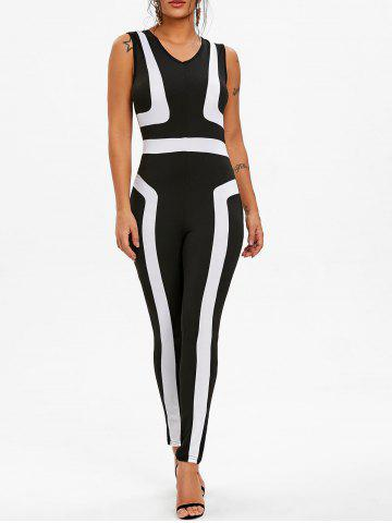 Unique Color Block Sleeveless Jumpsuit