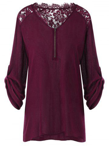 Latest Lace Insert Plus Size Casual Tunic