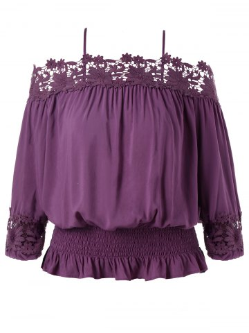 Online Plus Size Cutwork Cold Shoulder Smocked Blouse