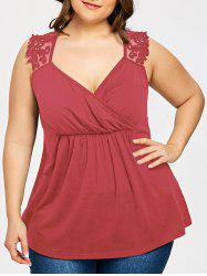 Plus Size Lace Panel Empire Waist Tank Top -