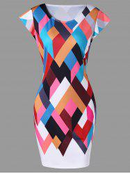 Colorful Geometric Print Bodycon Dress -