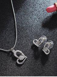 Heart Shaped Rhinestones Stud Earrings Necklace Set -