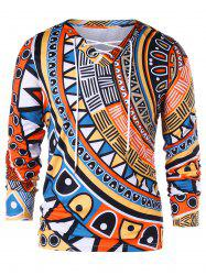 Geometric Print Long Sleeve T-shirt -