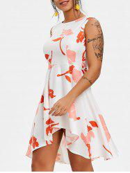 Printed High Low Mini Skater Dress -