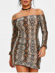 Off Shoulder Leopard Print Tunic Dress -