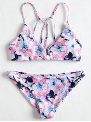 Floral Cross Back Bikini Set -