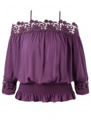 Plus Size Cutwork Cold Shoulder Smocked Blouse -