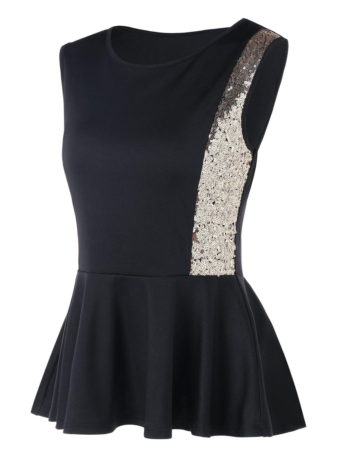 Shops Sleeveless Sequins Peplum Top