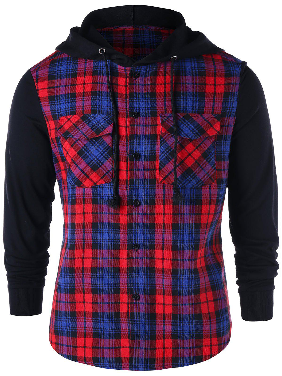 Buy Flap Pockets Plaid Button Up Hoodie