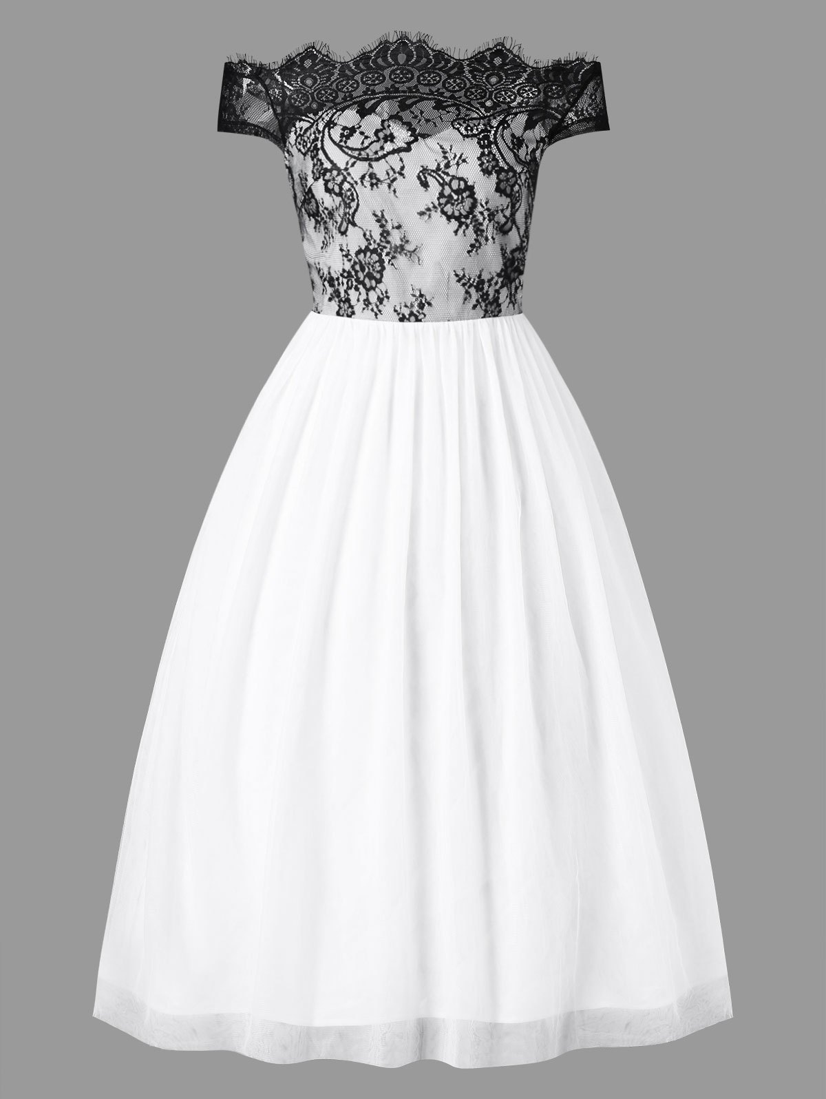 White 2xl Off Shoulder Evening Gown Dress | Rosegal.com