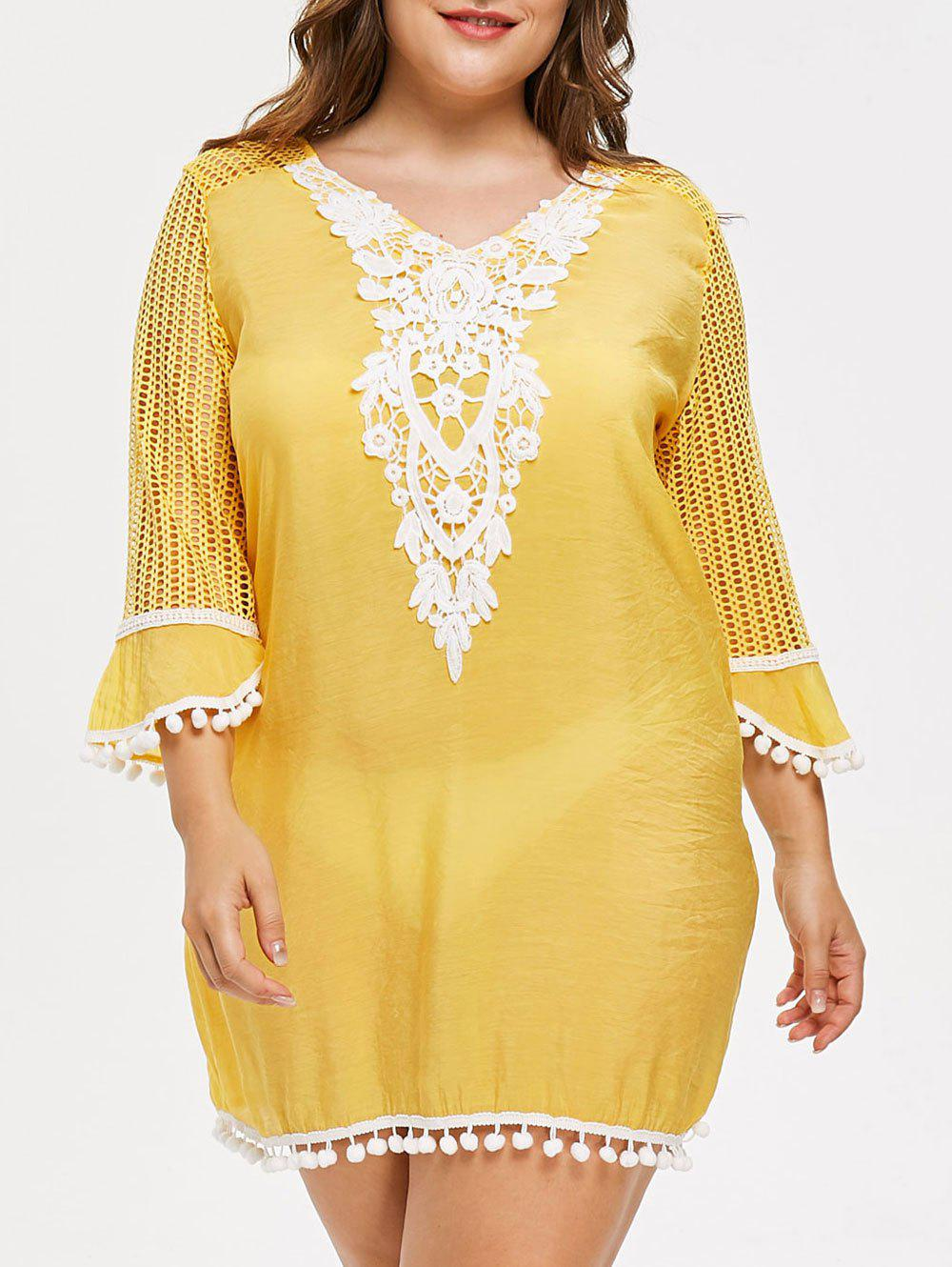 Fashion Plus Size Crochet Pom Cover Up